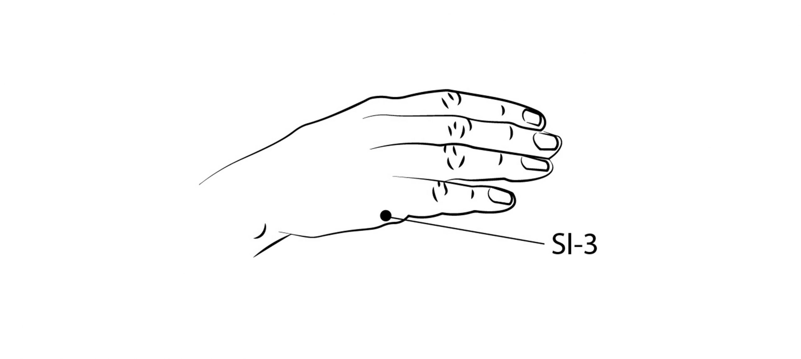 acupoint diagram showing the karate chop point on side of hand