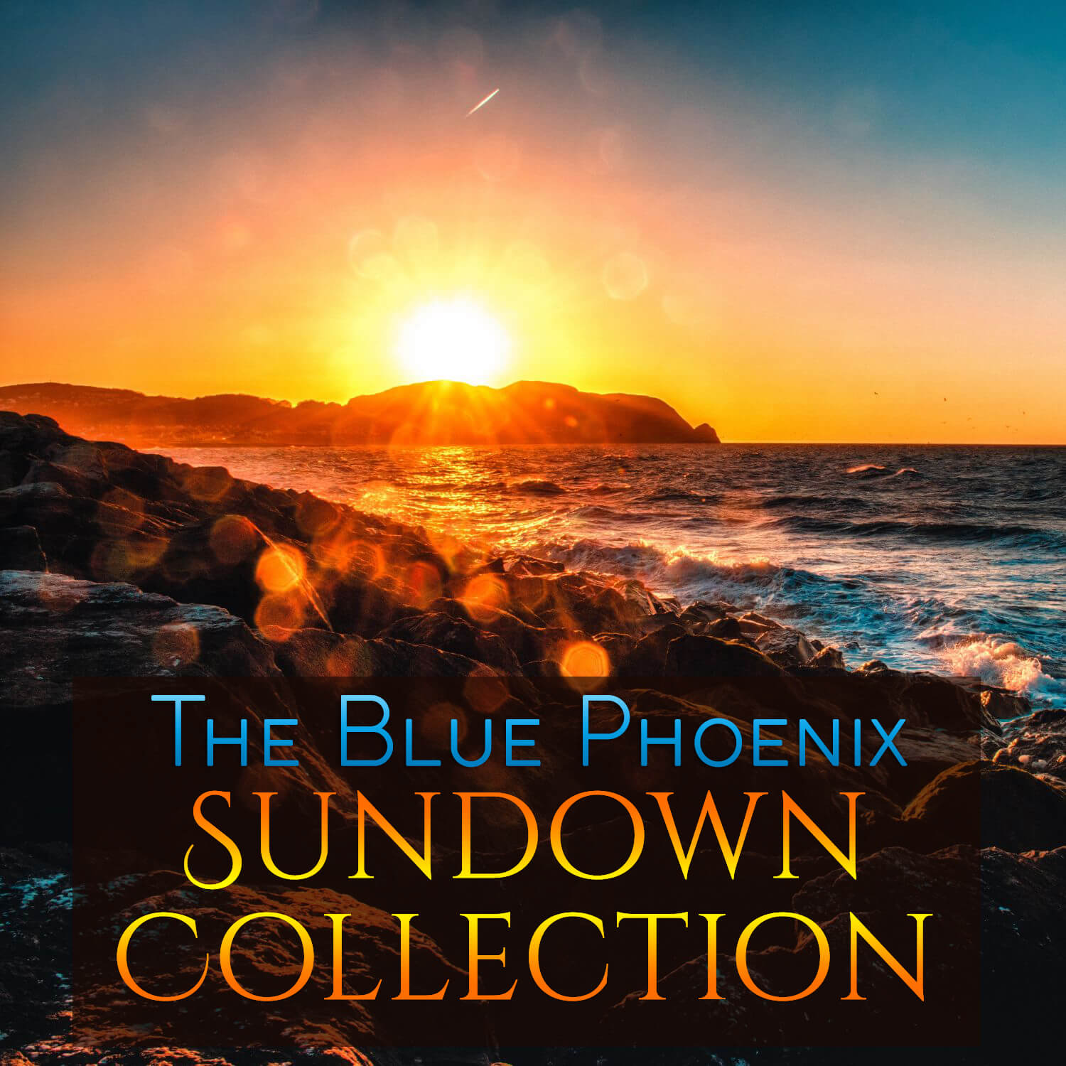 Sunset over sea and rocks as cover image for The Blue Phoenix Sundown Collection