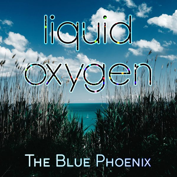 ocean view with tiny sailing boat seen through dark green grass - cover image for Blue Phoenix album Liquid Oxygen