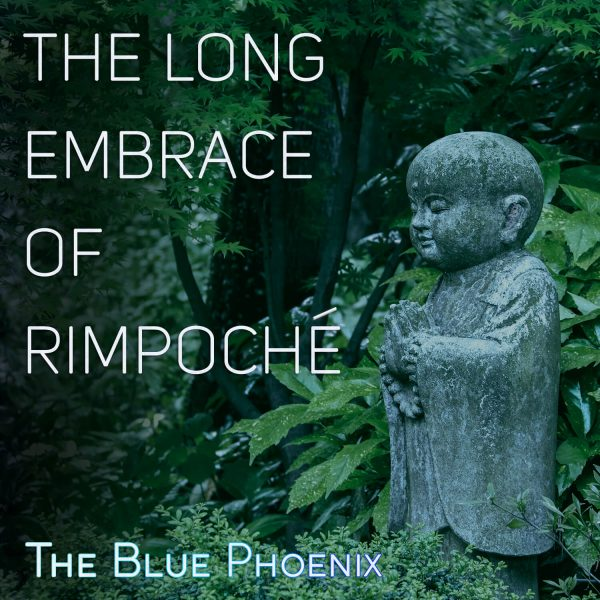 Stone buddha figure amid deep green foliage - cover image for Blue Phoenix album The Long Embrace of Rimpoche