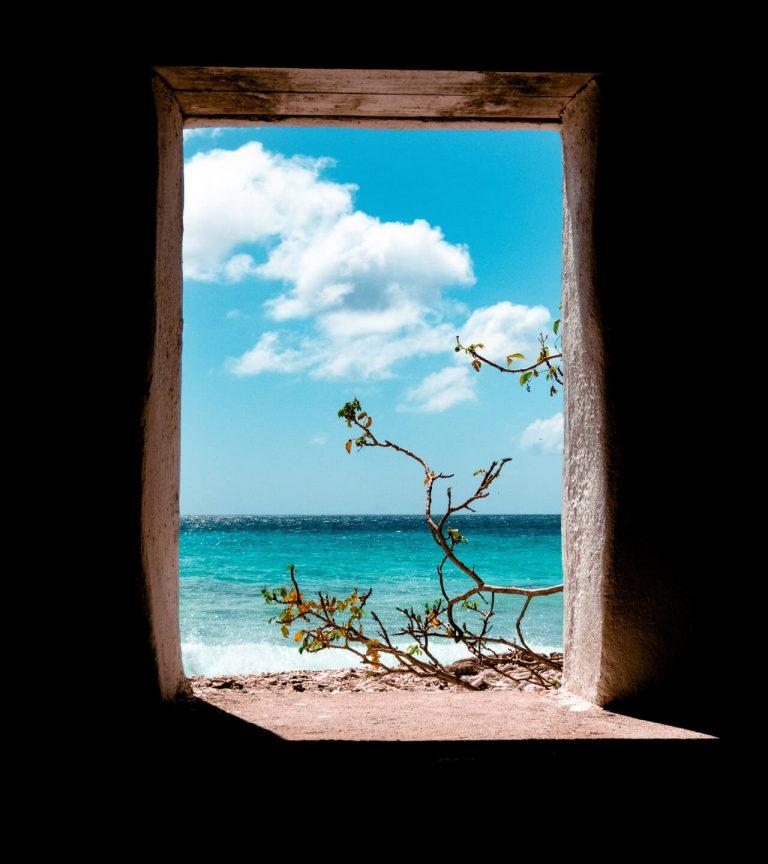 ocean seen through window