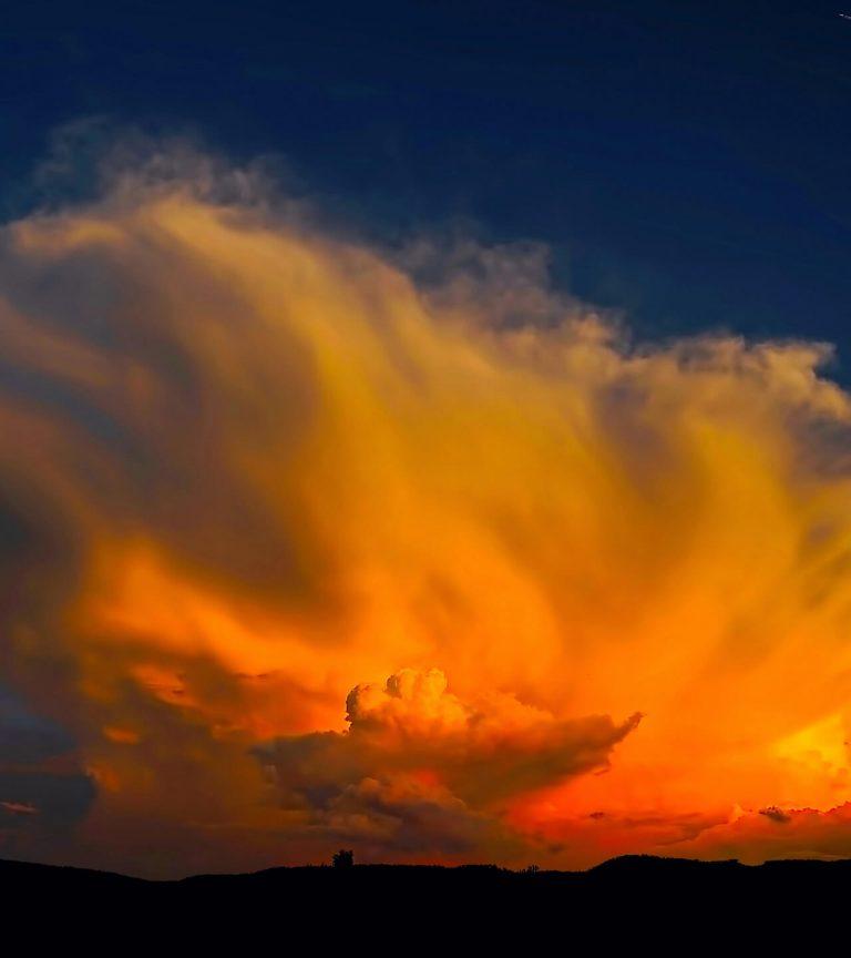 orange storm clouds at sunset