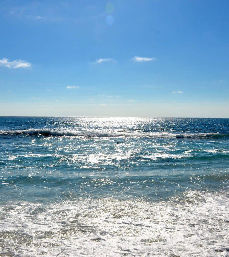 sunlight shining on sea