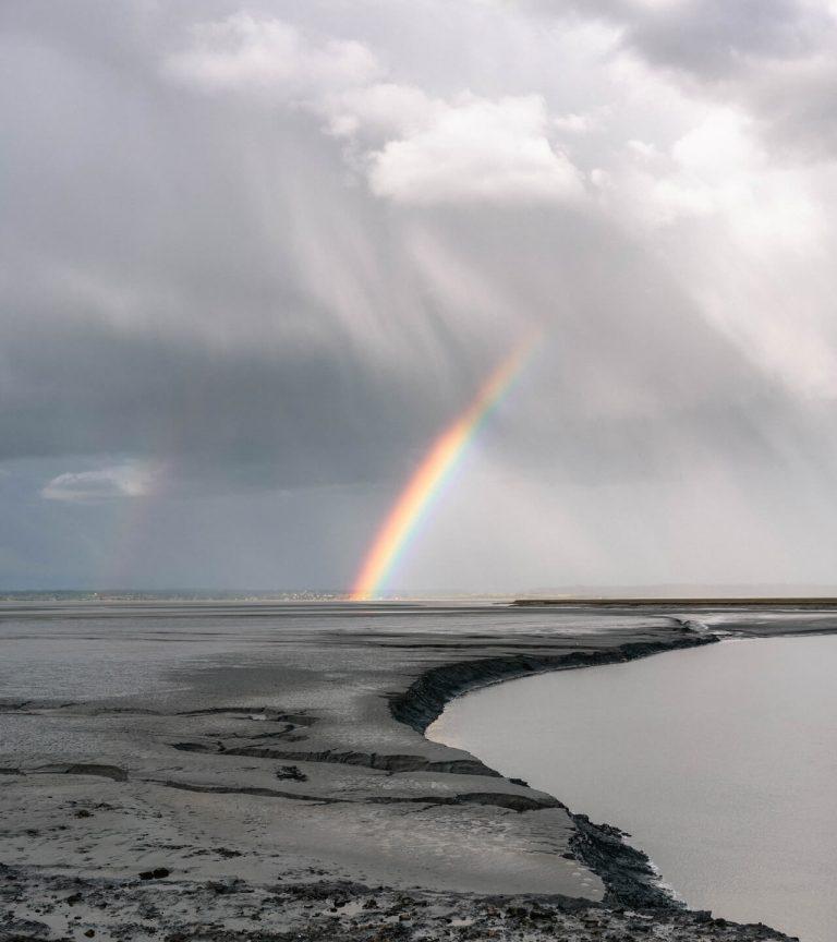 rainbow in stormy sky