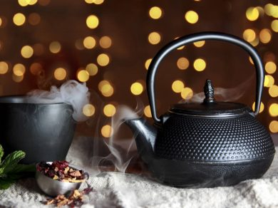 black ceramic chinese herb tea pot