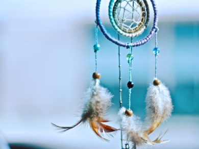 Children's Recurring Nightmares header image of pretty blue dreamcatcher